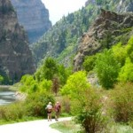 hikers on colorado's glenwood canyon trail