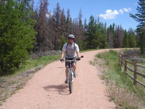 bike rider on Wyoming's medicine bow trail