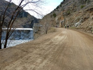 Waterton Canyon trail goes by a dam spillway.