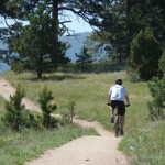 bike rider on Betasso Trail near Boulder, Colorado