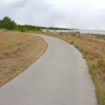 concrete & asphalt trail around Aurora Reservoir in Colorado